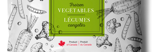 Product of Canada label on bag of frozen vegetables